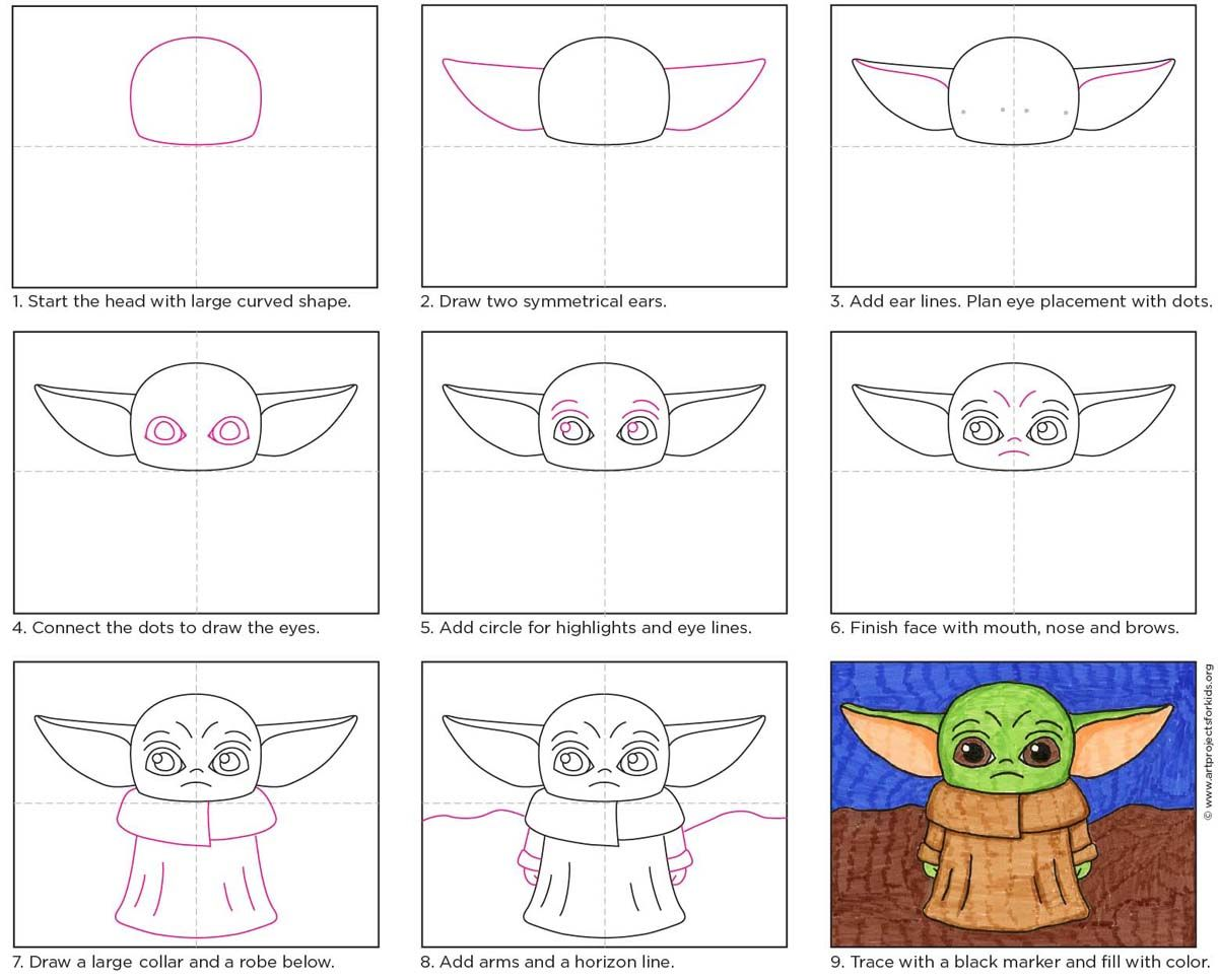 How To Draw Baby Yoda Art Projects For Kids Star Wars Art Drawings Yoda Art Baby Drawing