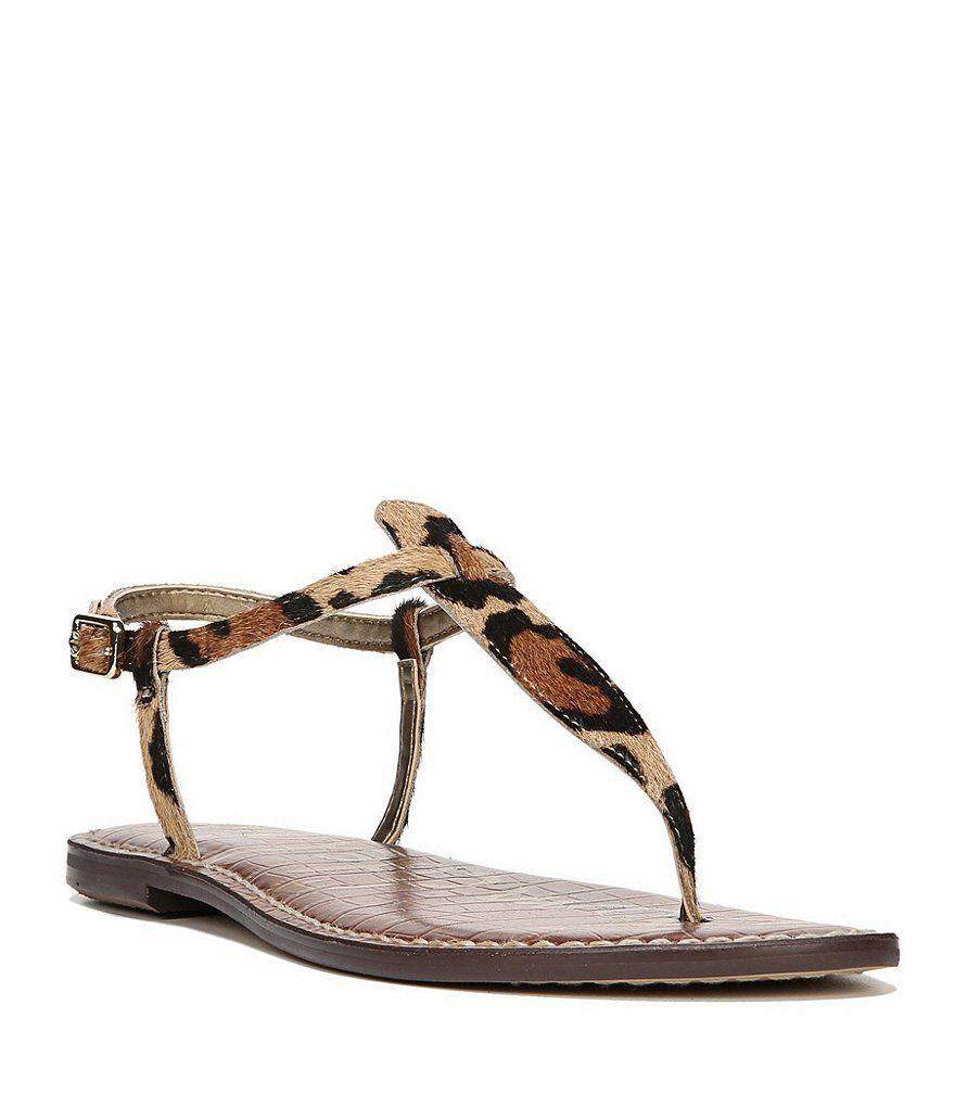 Sam Edelman Gigi Leopard Print Calf Hair T Strap Sandals T Strap Sandals Sam Edelman Gigi Strap Sandals