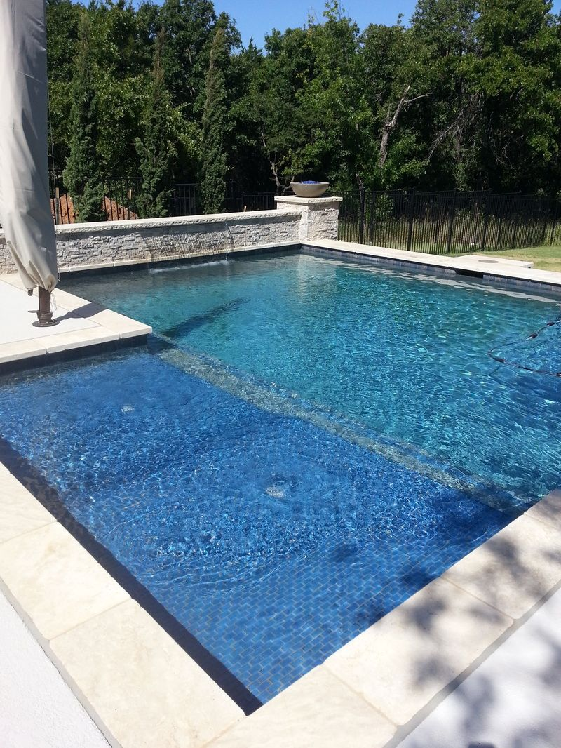 Glass Tile Double Tanning Ledge Stainless Steel Sheer Descent Modern Pool Grapevine P Rectangular Pool Swimming Pool Architecture Pools Backyard Inground