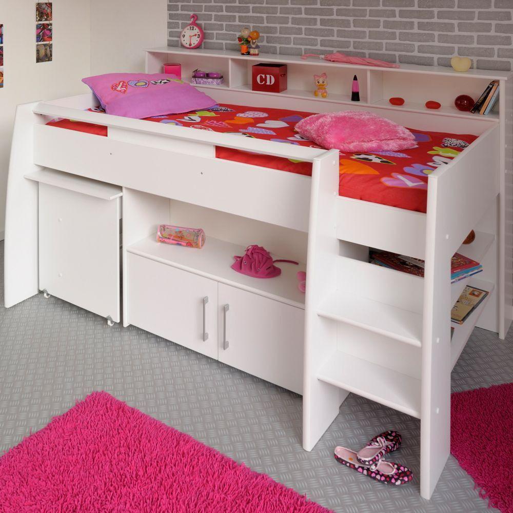 Eckschreibtisch weiß  Kinder Hochbett weiss Schreibtisch Danny | bbM quartos | Pinterest