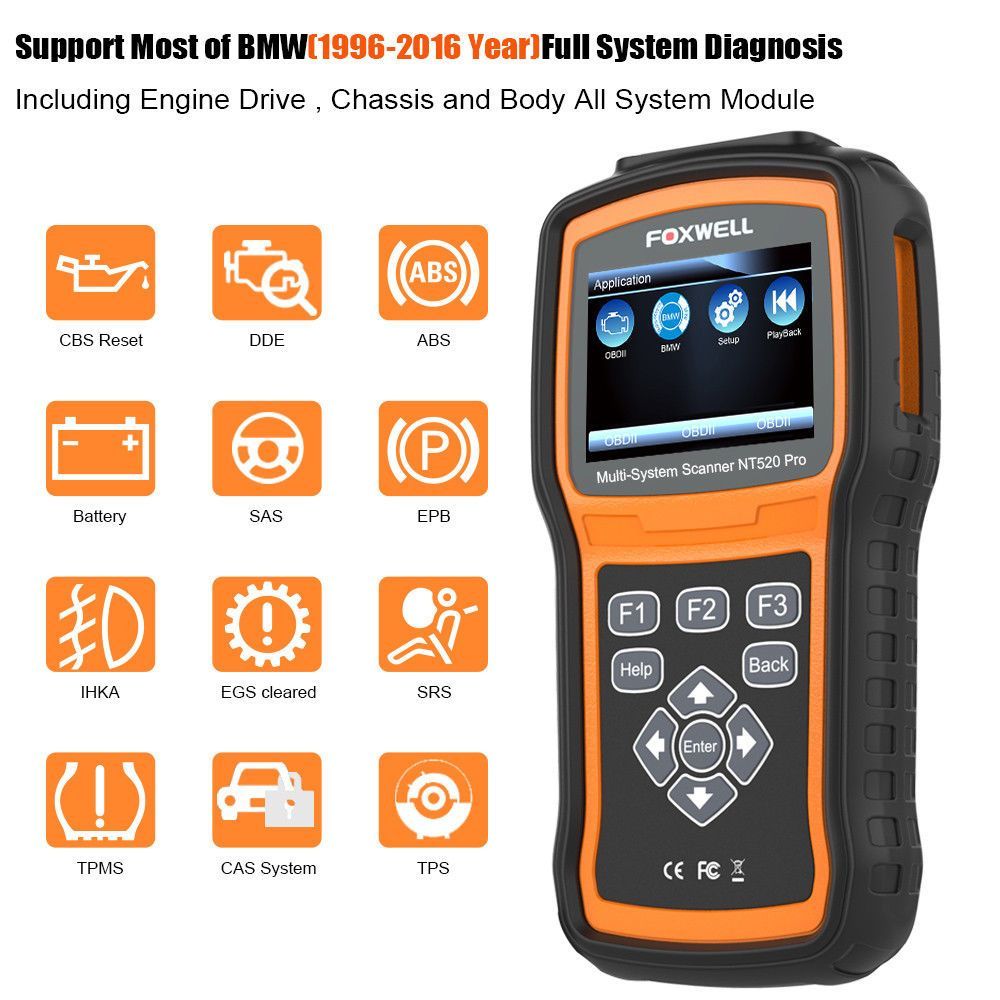 FOXWELL NT520pro OBD2 Auto Fault Code Reader Reset
