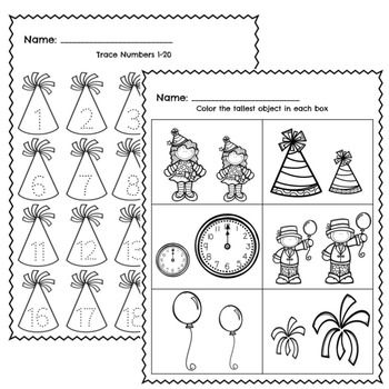New Years 2020 Activities, New Years Math and Literacy in
