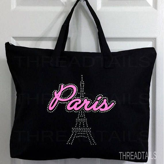 Paris Tote Bag. Rhinestone Eiffel Tower Carryall.