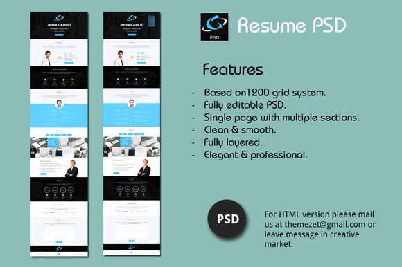 Resume Psd  One Page Design  Cv Template And Resume Cv
