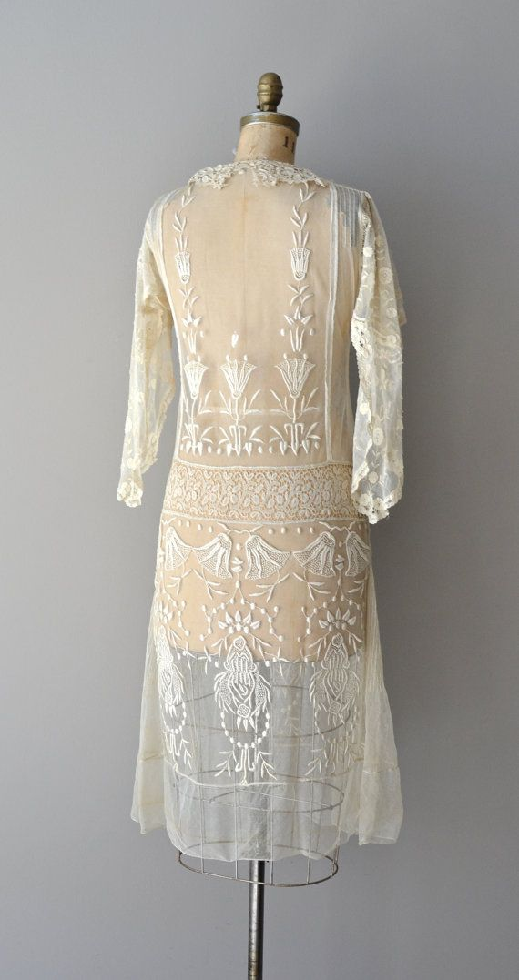 Gypsophila embroidered dress • vintage 1920s dress • sheer silk lace ...