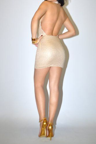 Bebe Size Medium M 8 10 Gold Studded Beads Nude Dress Open Back