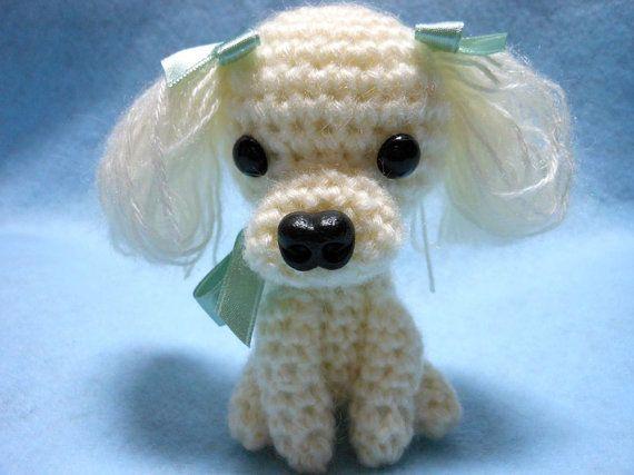 Amigurumi Lion Perritos : Petite poodle crochet dog amigurumi in creamy white yarn canine