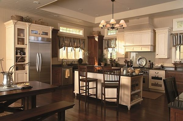 kitchen window coverings | Traditional kitchen with fancy window treatments