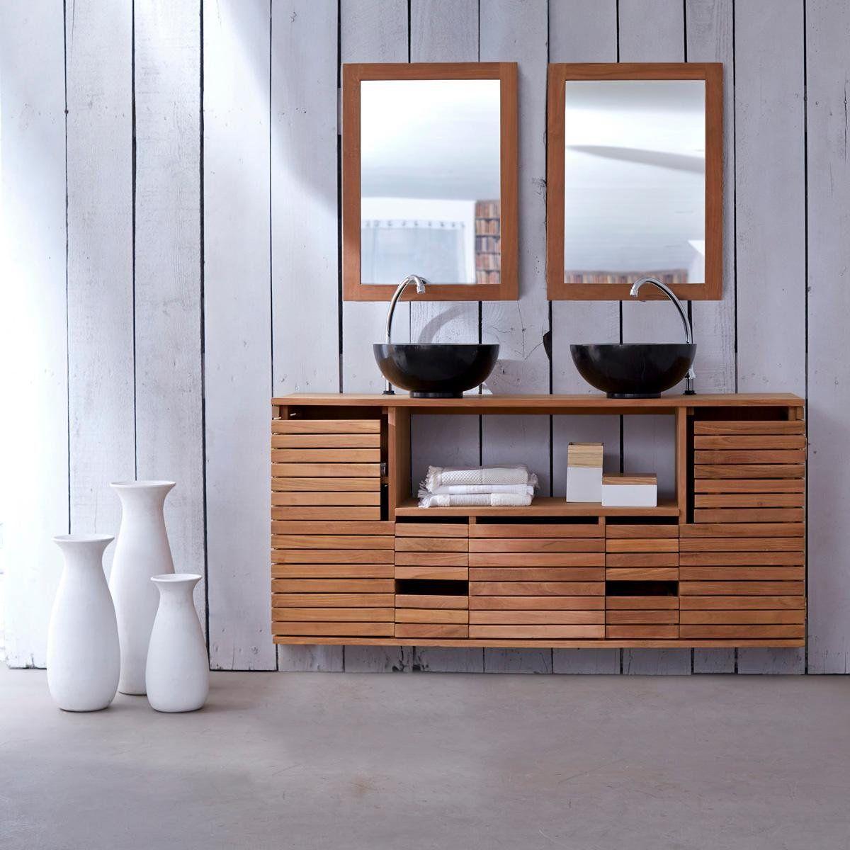 Meuble Suspendu En Teck 145 Slats Tikamoon Meuble Salle De Bain 3 Suisses Meuble Suspendu Meuble Double Vasque Mobilier De Salon
