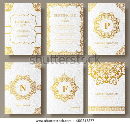 Set Of Luxury Gold Artistic Pages Set With Logo Brochure Template