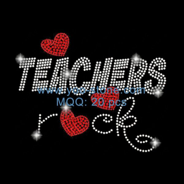 Teaching Iron on Rhinestone Transfer Hot Fix Bling School Teacher Love Heart