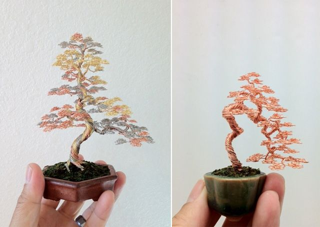 miniature wire bonsai trees by ken to incredible pinterest rh pinterest com Bonsai Copper Wire Bonsai Copper Wire