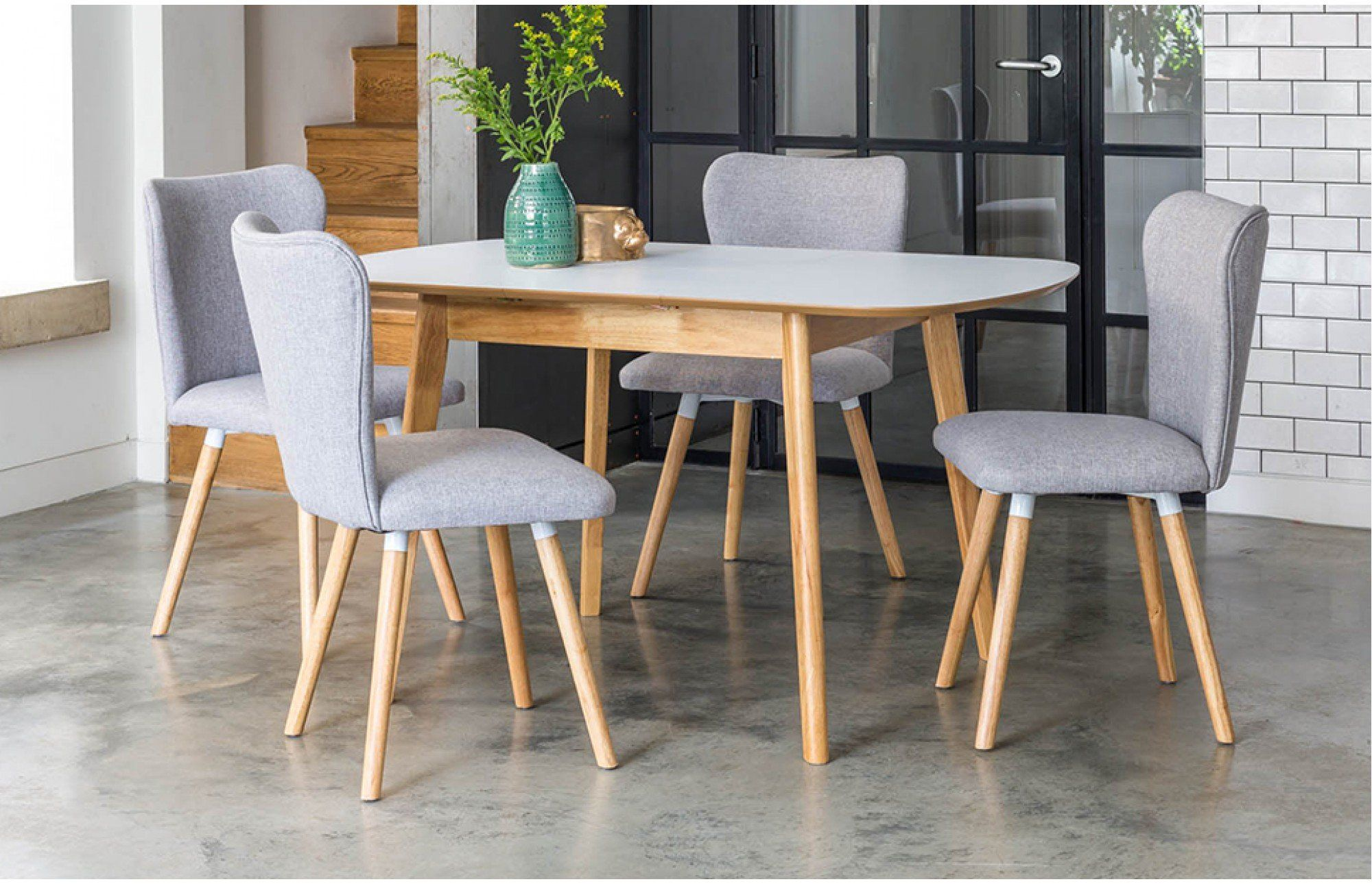 The Compact Dove Extendable 4 Seater Dining Set Is Ideal For