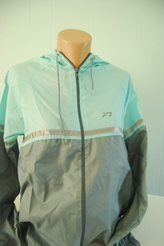 Brooks Running Suit Vintage Warm Up Mint Green Gray Blue