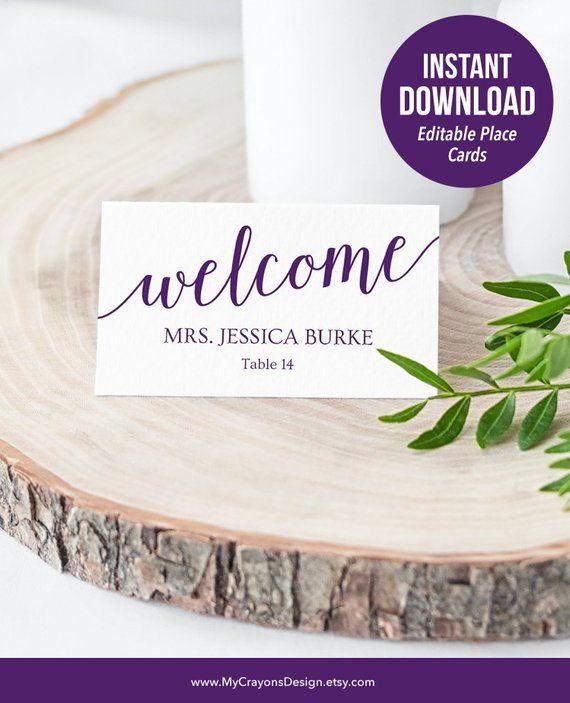 purple place cards template  purple wedding name cards