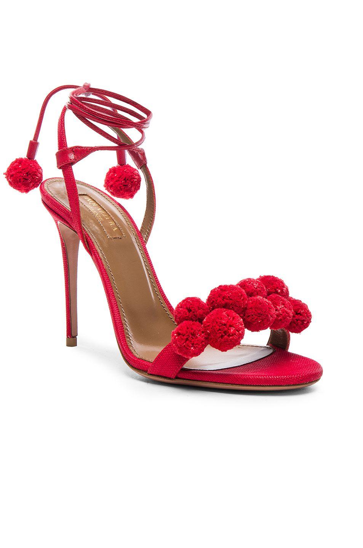 e2e9de5195b Aquazzura Pom Pom Heels in Lipstick