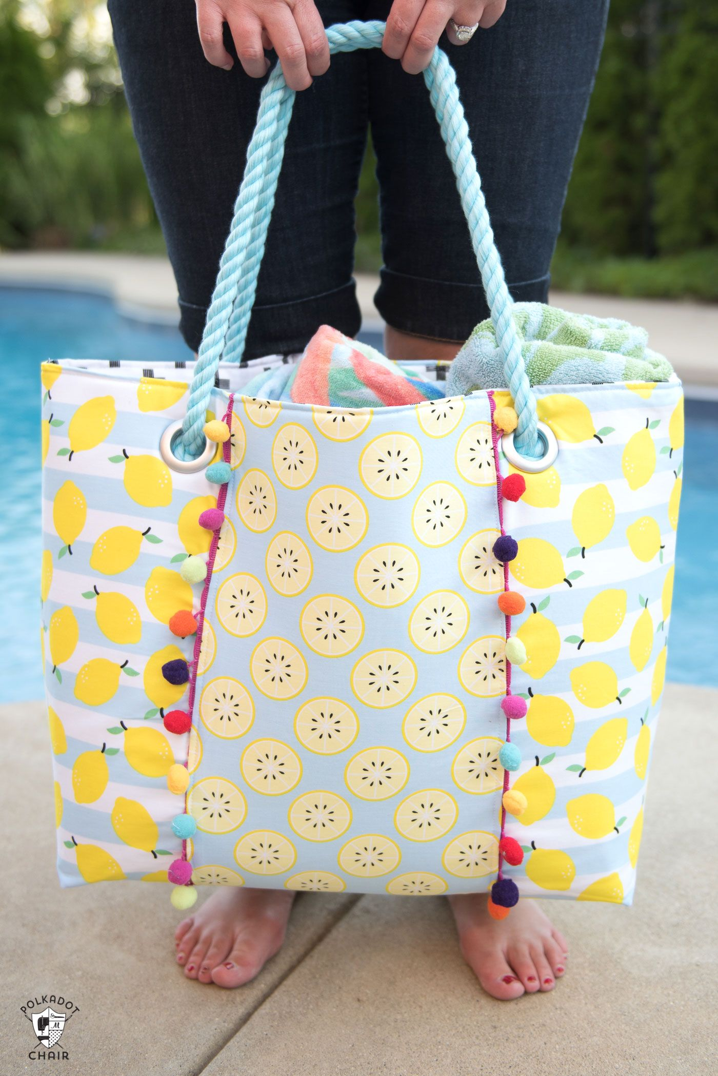 Learn How To Sew A Cute Oversized Pool Bag With This Beach Sewing Pattern So Roomy And Such Simple Free