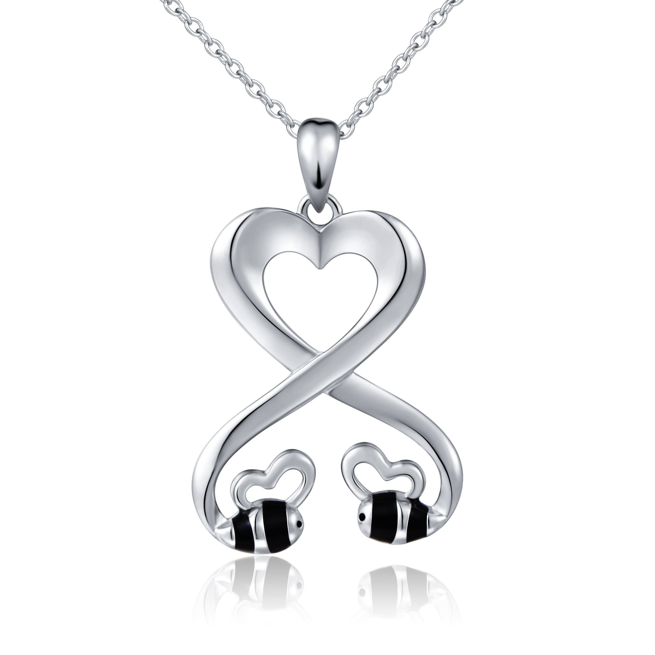 925 sterling silver double bees infinity love heart pendant 925 sterling silver double bees infinity love heart pendant necklace for girlfriend 18 mozeypictures Images