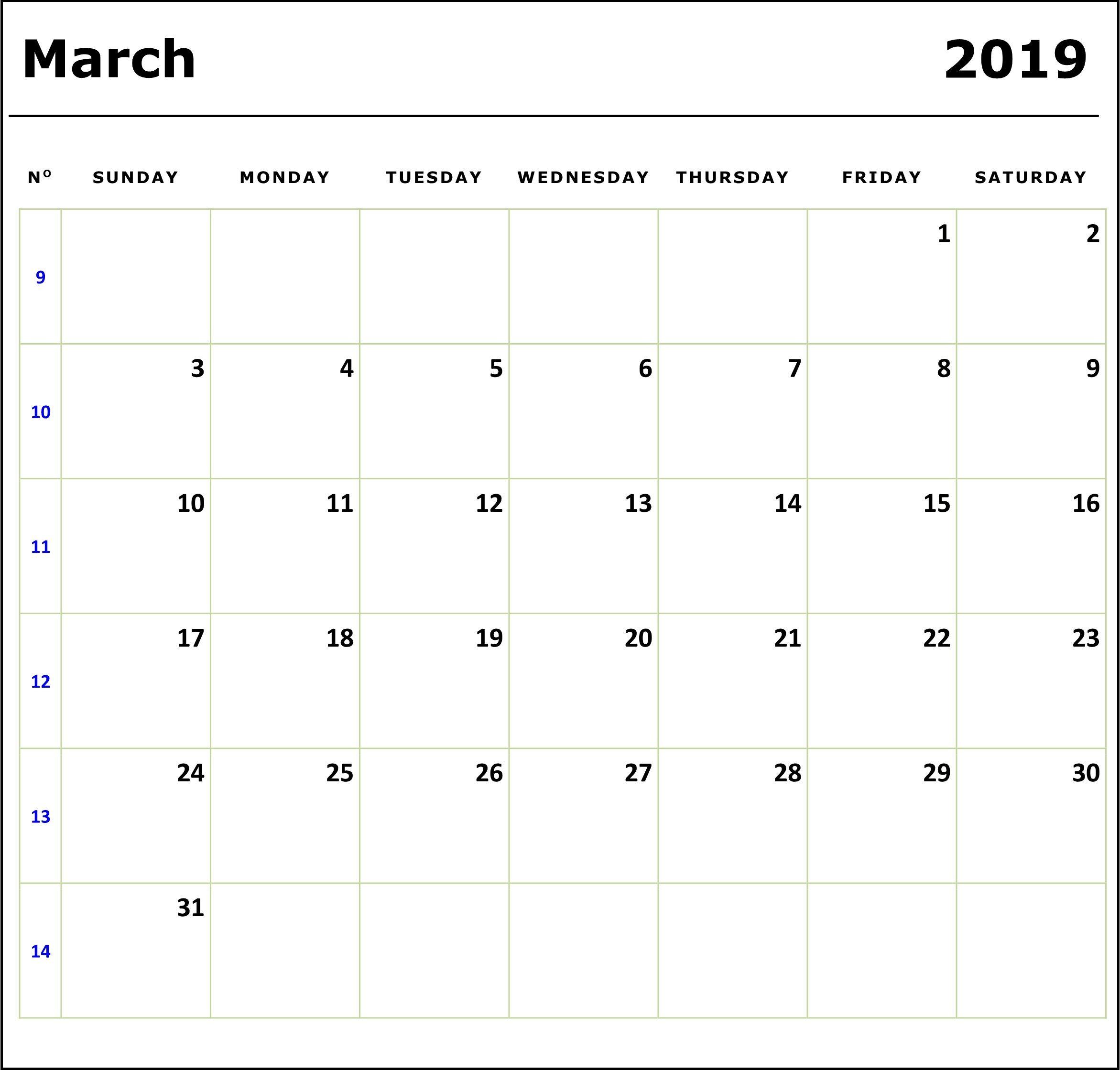 Printable March 2019 Holidays Calendar March2019calendar