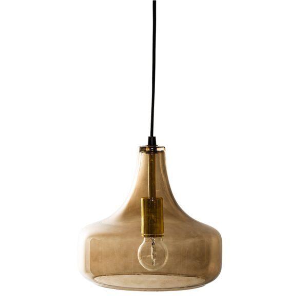 Bloomingville Hanglamp Bruin 23 cm - Glas/Zwart Snoer