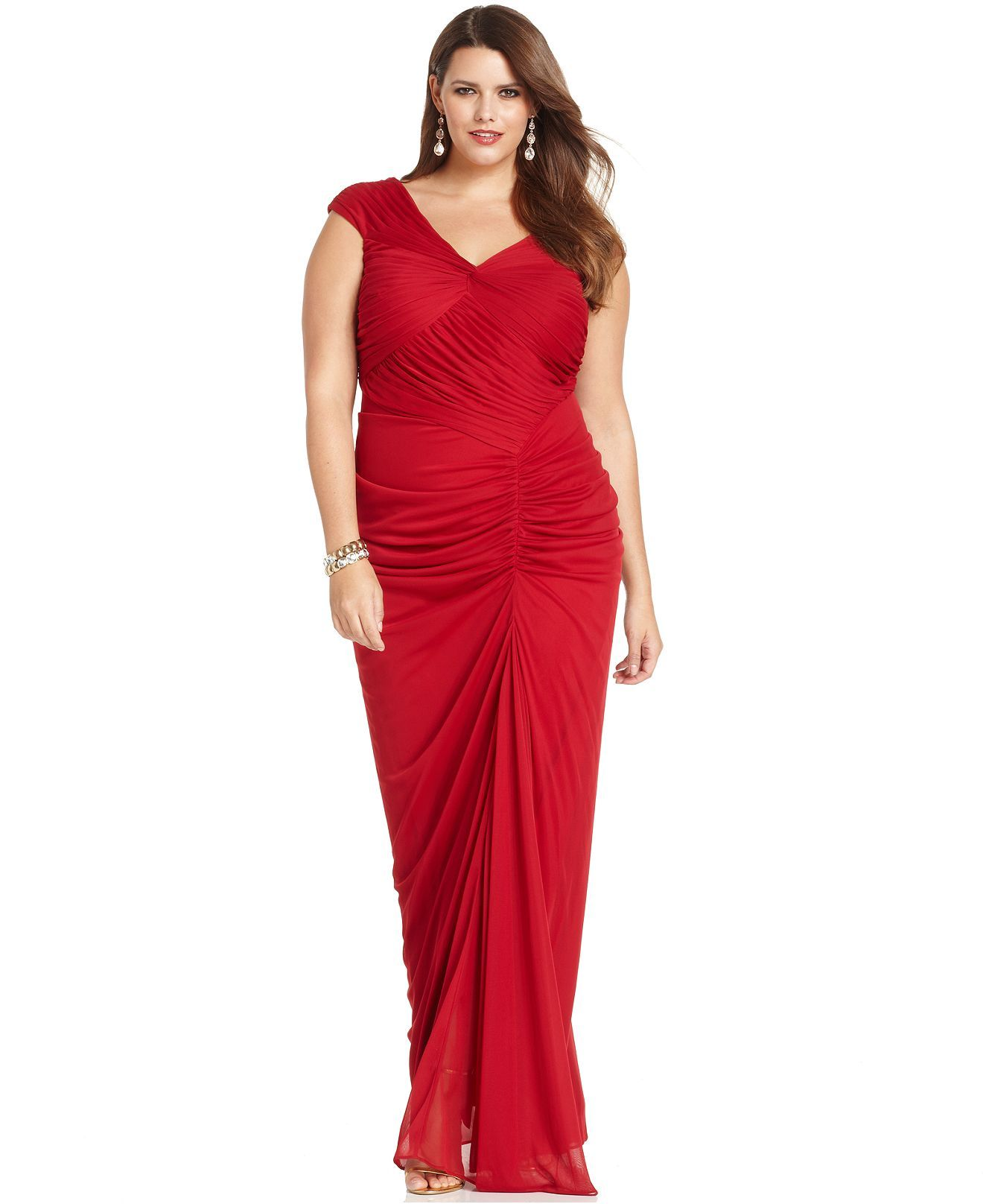 Adrianna Papell Plus Size Dress Cap Sleeve Ruched Gown Plus Size