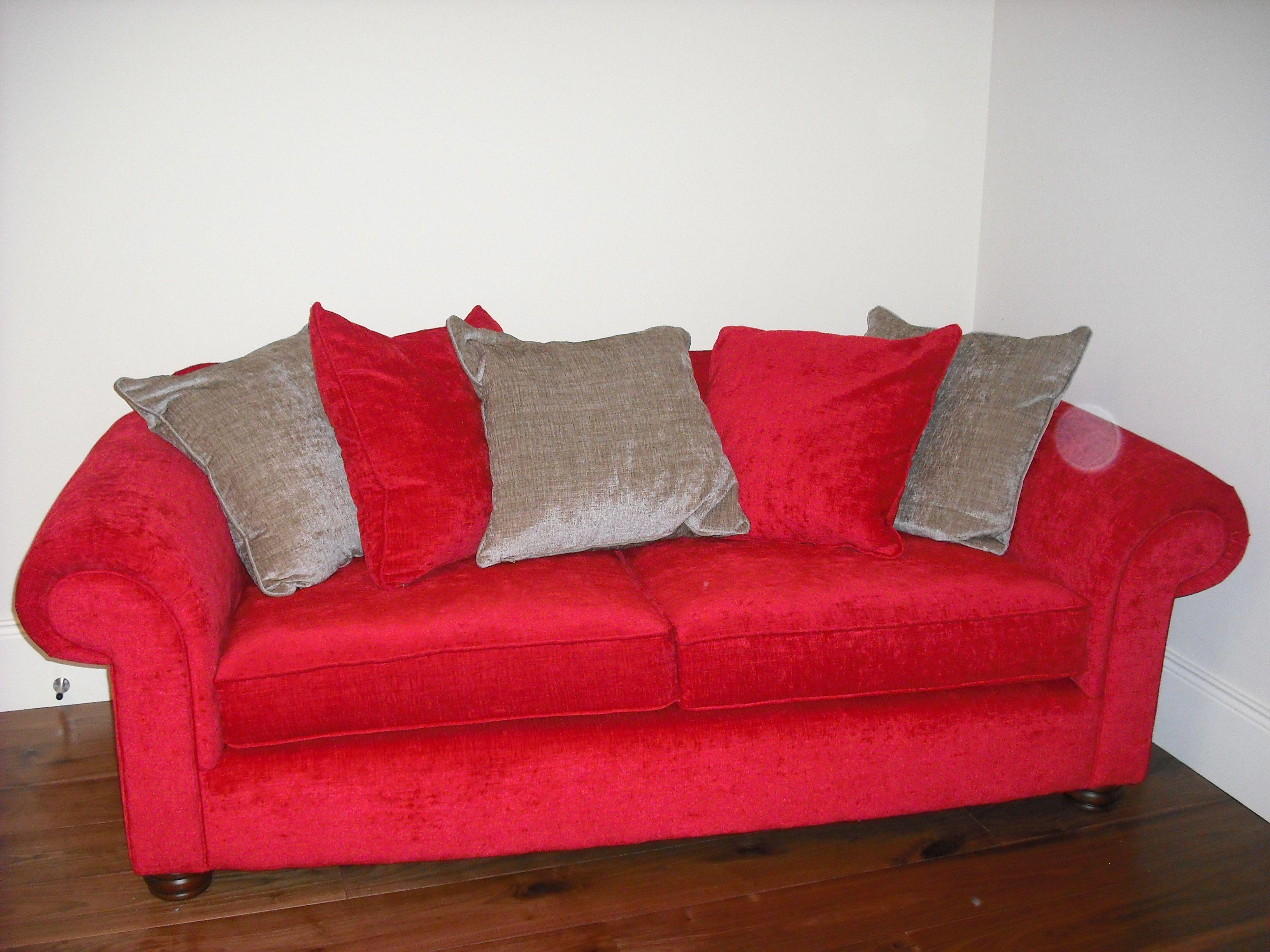 Plush red velvet sofa available from conbu interior design