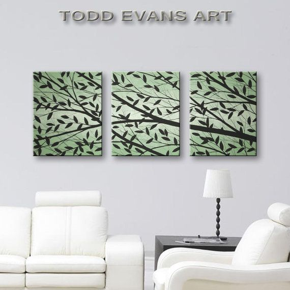 Canvas Art Home Decor Wall Bedroom Leaves Tree Living Paintings 3 Piece Set Sage Green Painting 48x20