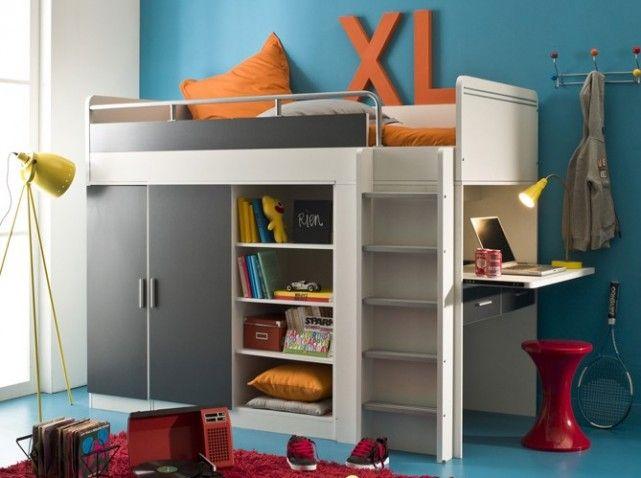 lit mezzanine bureau et armoire my blog. Black Bedroom Furniture Sets. Home Design Ideas