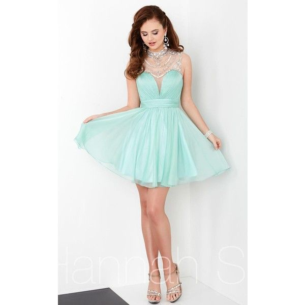Hannah S 27059 Bat Mitzvah Dress Mini High Neckline Sleeveless ($300) ❤ liked on Polyvore featuring dresses, formal dresses, mint, short formal dresses, short white cocktail dress, white dress, formal cocktail dresses and mint prom dress