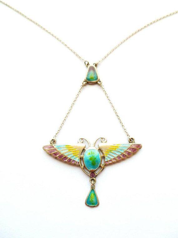 Arts and Crafts Sterling Charles Horner Enamel Scarab Necklace