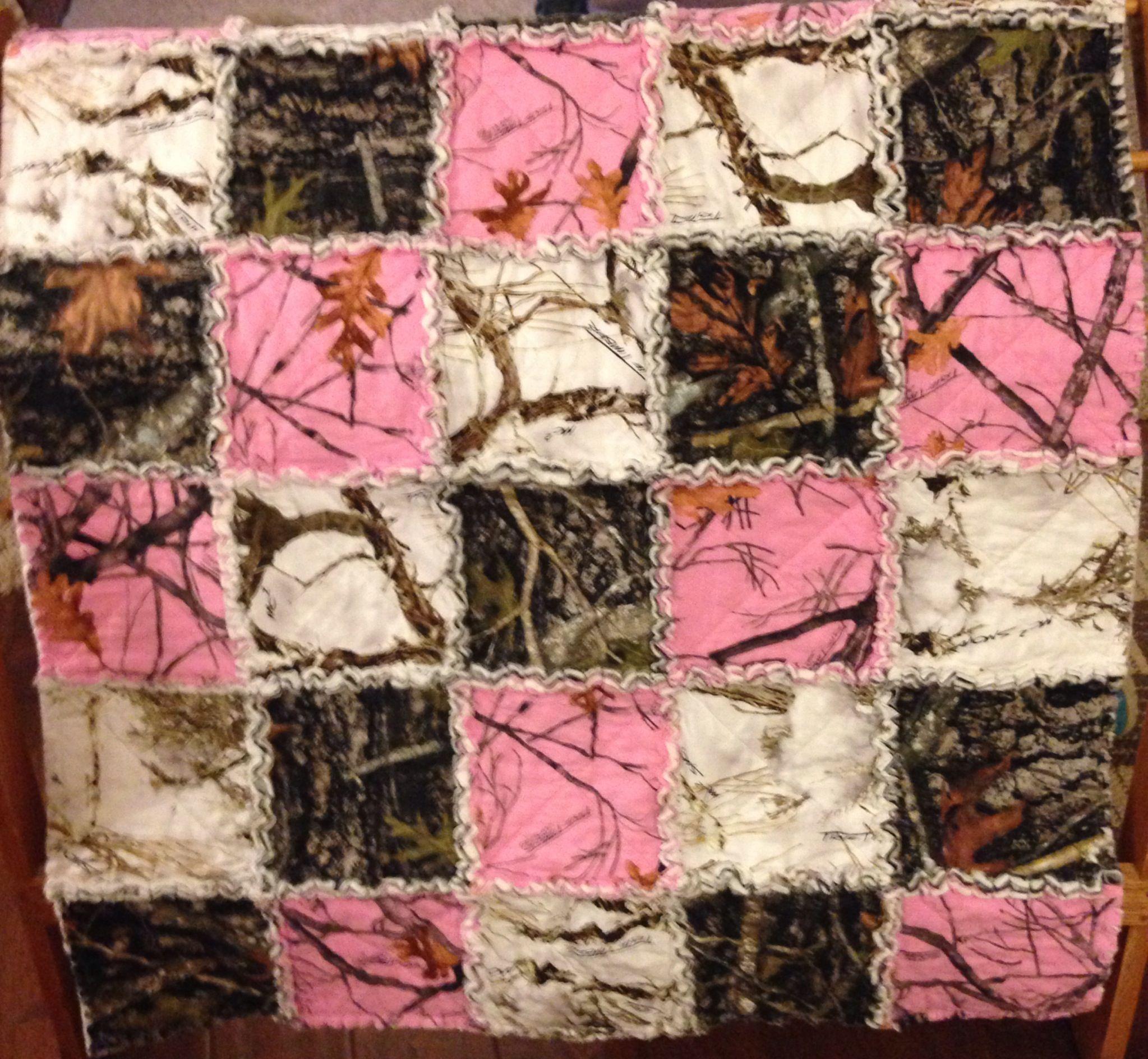 Pink Camo Rag Quilt My Quilts Pinterest Rag Quilt