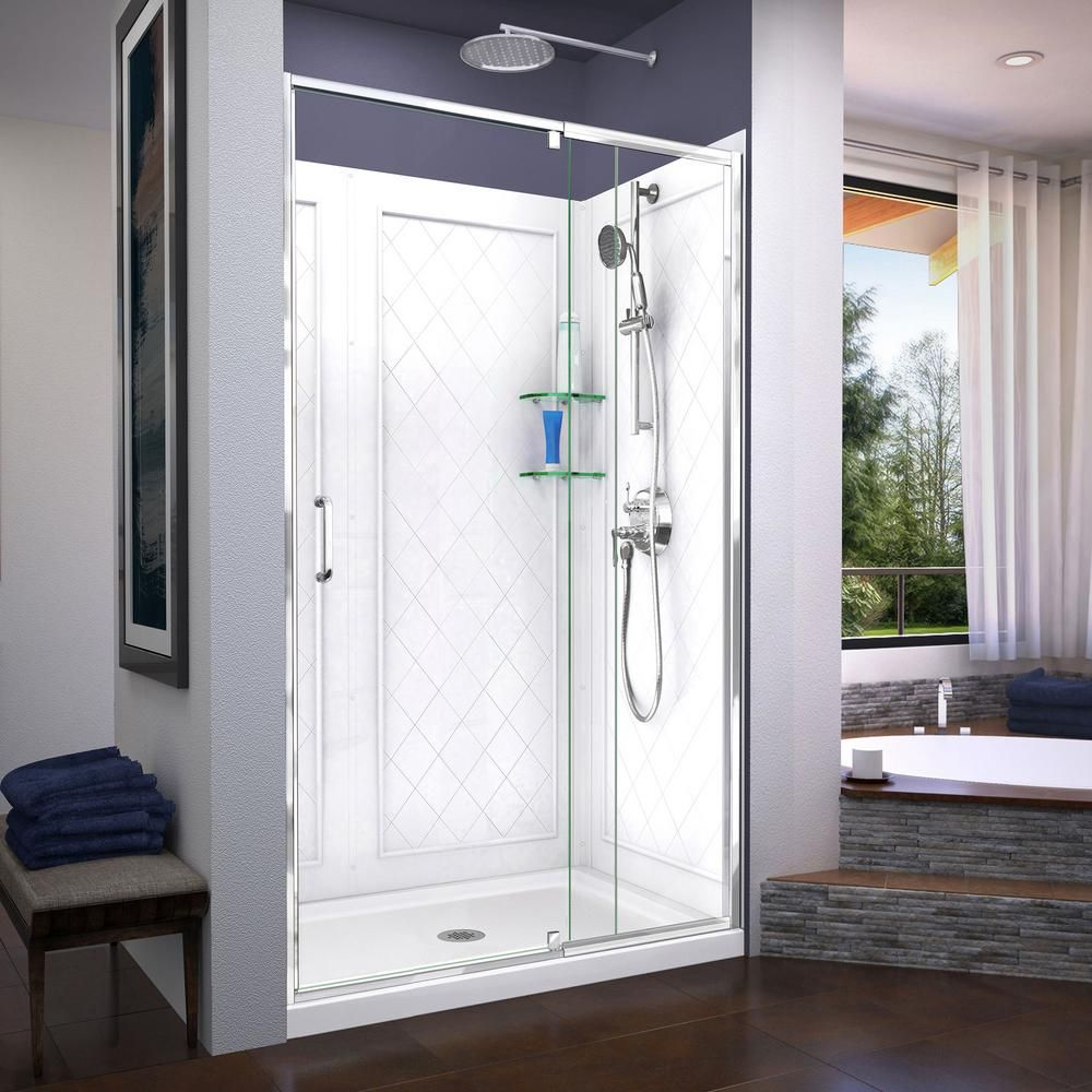 Dreamline Flex 36 In D X 48 In W X 76 75 In Framed Pivot Shower Door In Chrome With Center Drain Shower Base In White Products Shower Doors Frameless S