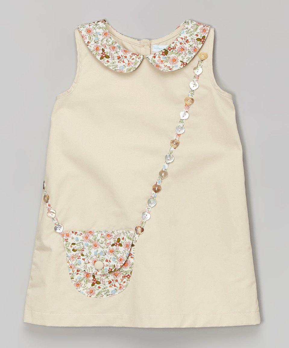 La Fleur & Le Papillon Beige Floral Purse A-Line Dress - Infant ...