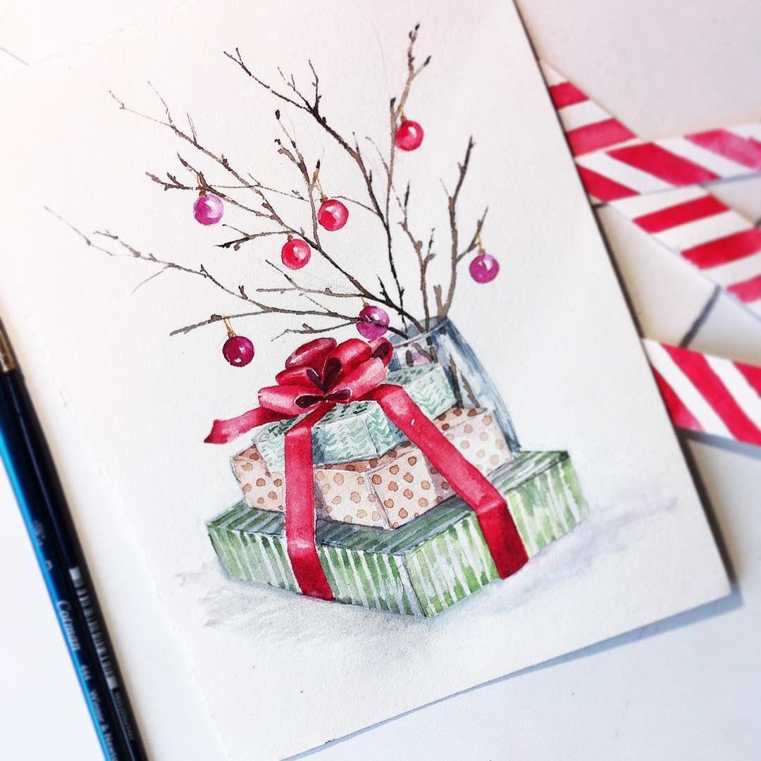 как рисовать новогодние открытки акварелью готовятся виде