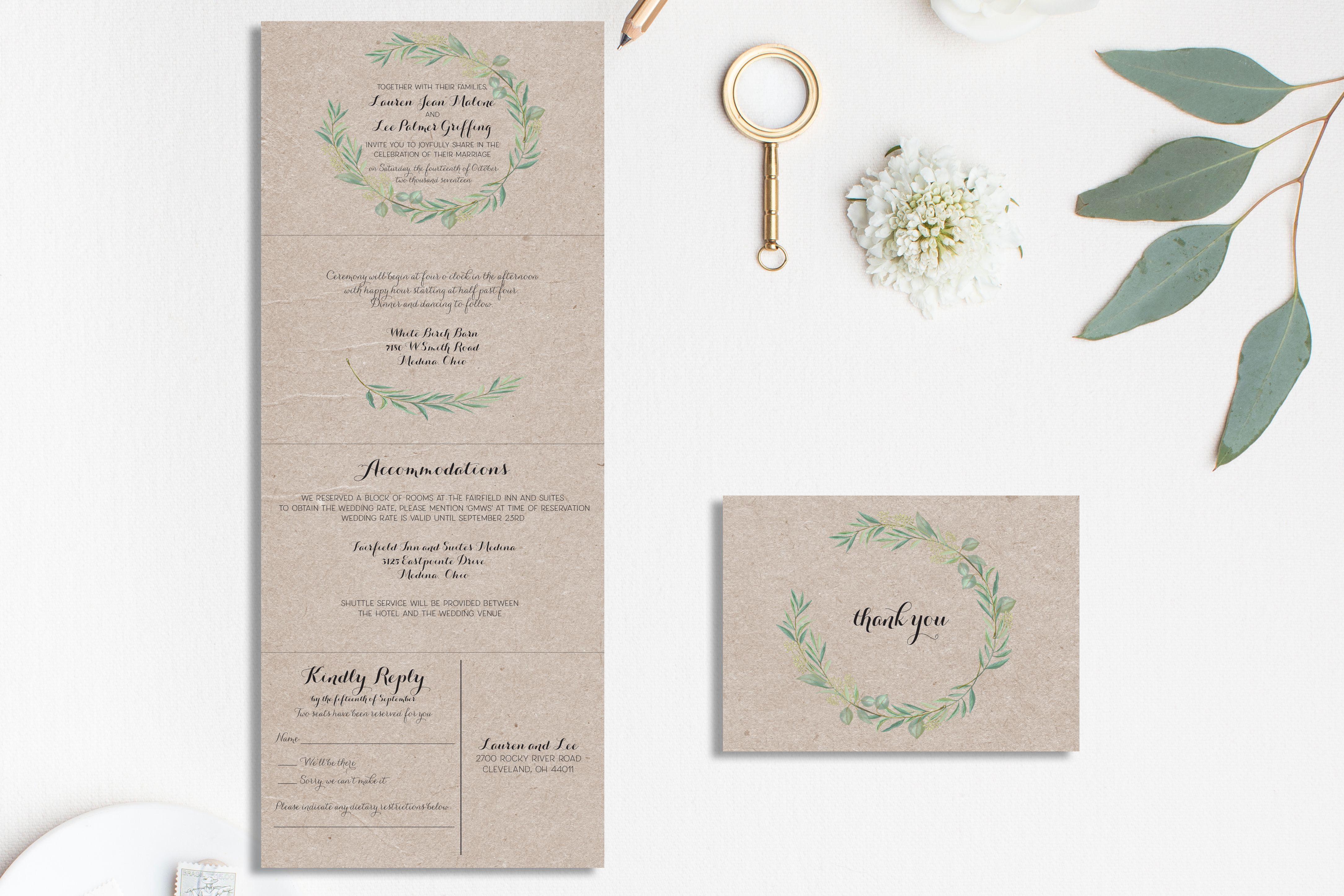 Rustic wedding invitation | Kraft wedding invitation | Folded wedding  invitat… | Tri fold wedding invitations, Folded wedding invitation, Wedding  invitations rustic