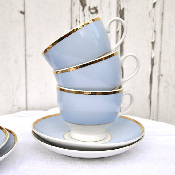 Pale Pastel blue and white gold antique Teacup and Saucer Matchig Sets Doulton table ware for the home Afternoon Tea Gift for New Home