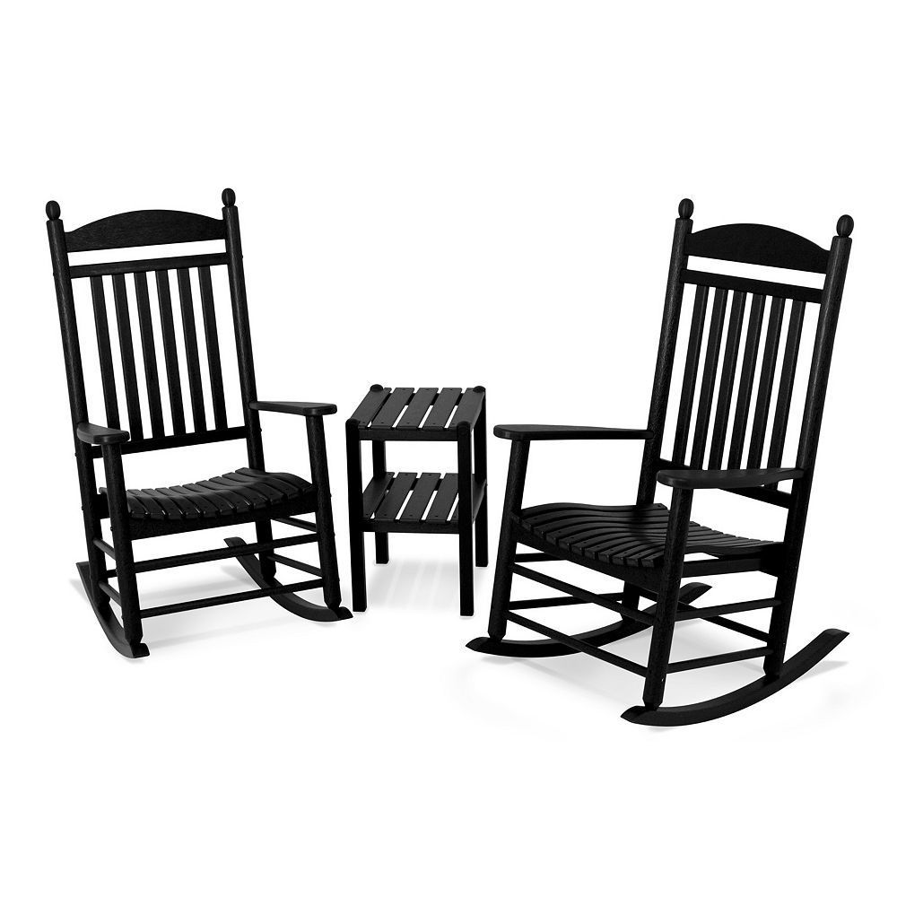 Polywood 3 Piece Jefferson Outdoor Rocking Chair Side Table Set Outdoor Rocking Chairs Rocking Chair Set Trex Outdoor Furniture
