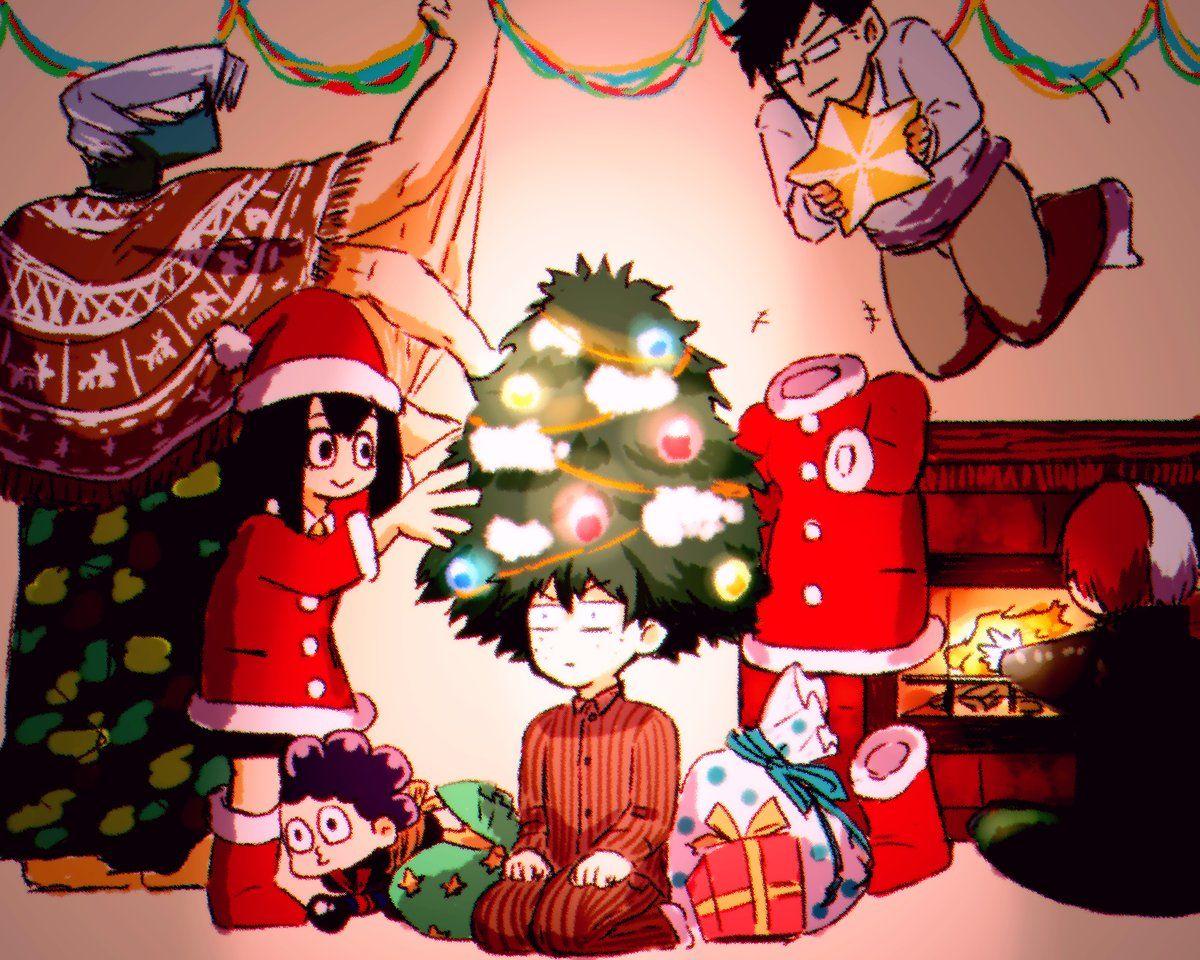 Midoriya Izuku Todoroki Shouto Hagakure Tooru Iida Tenya Tsuyu Asui Mineta Minoru Shoji Mezo Anime Christmas My Hero Hero