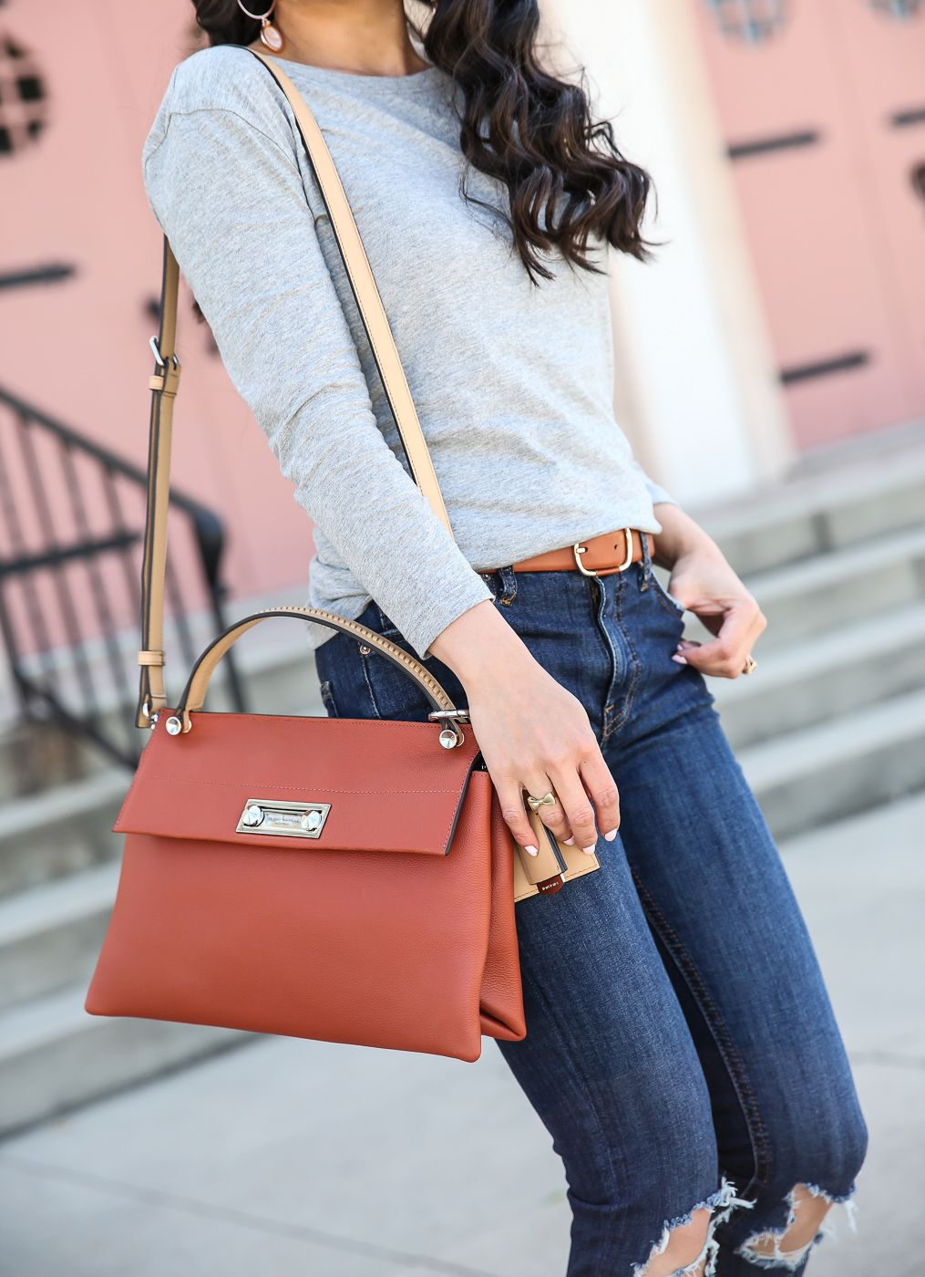 a308ee7a0b Casual spring weekend outfit - cognac purse gray shirt