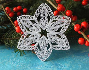 Photo of Ähnliche Artikel wie ALTA Schneeflocken – Papier quilled Ornament