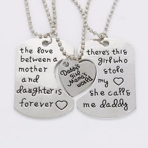 Father Daughter Gifts Part - 19: Joie Father Mother Daughter Necklace Set, Gifts For Parents