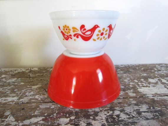 Vintage Pyrex Friendship Bowl Red Pyrex by VintageShoppingSpree, $25.00