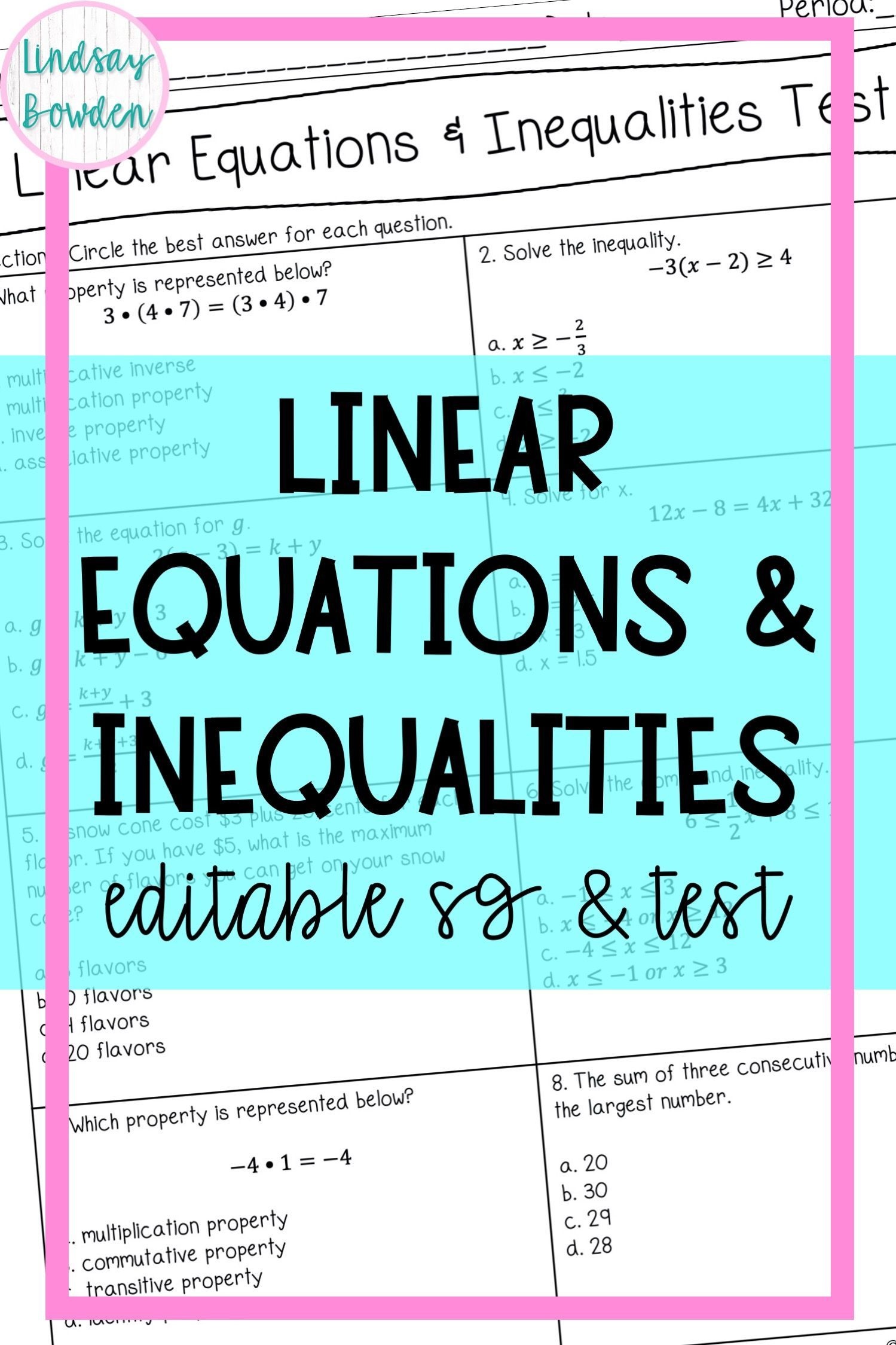Linear Equations And Inequalities Test With Study Guide In