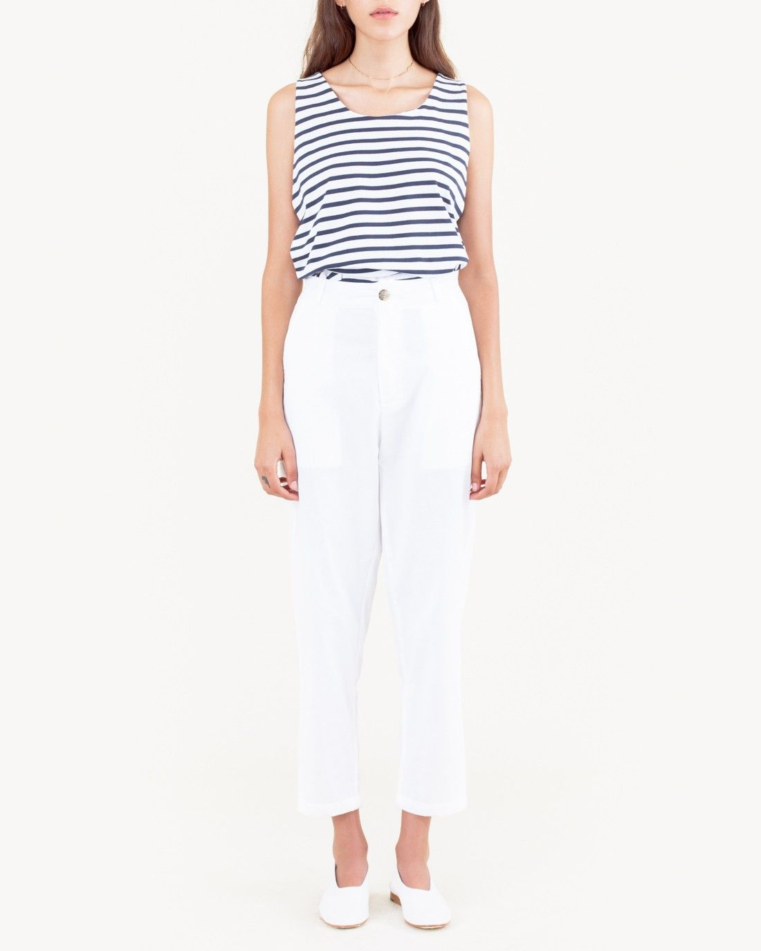 Form Pant in White Chambray by SMOCK.