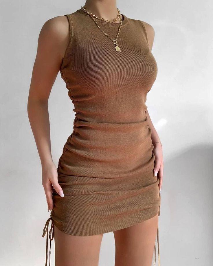 Brown ruched mini dress brown ruched mini dress #m