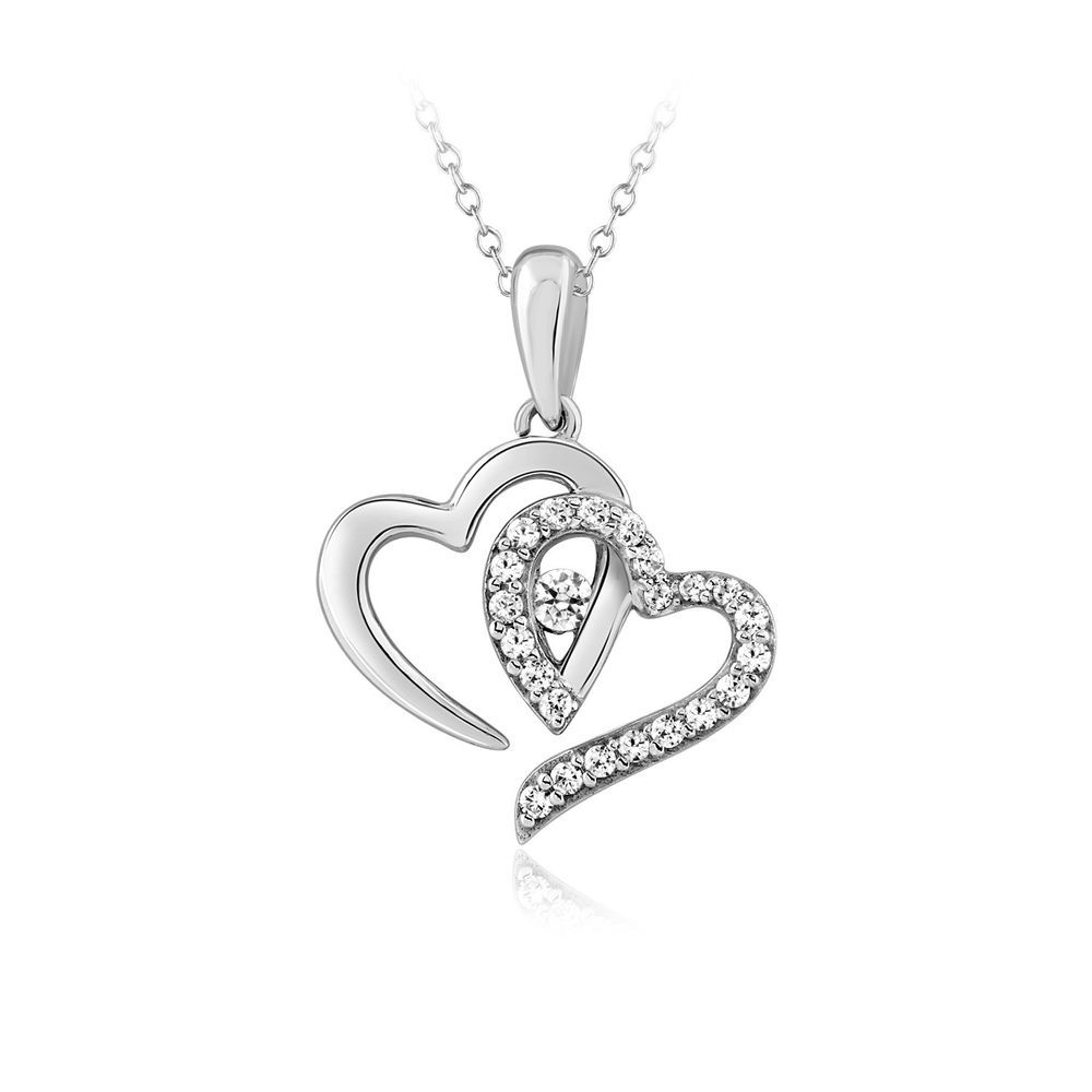 Valentine/'s Day Love Gift Heart Necklace 1//6 ct tw Created Diamonds 14K Gold Plated