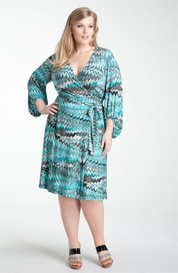 ee153cd1ef8e2 Donna Ricco Print Jersey faux wrap Dress - zig zag print