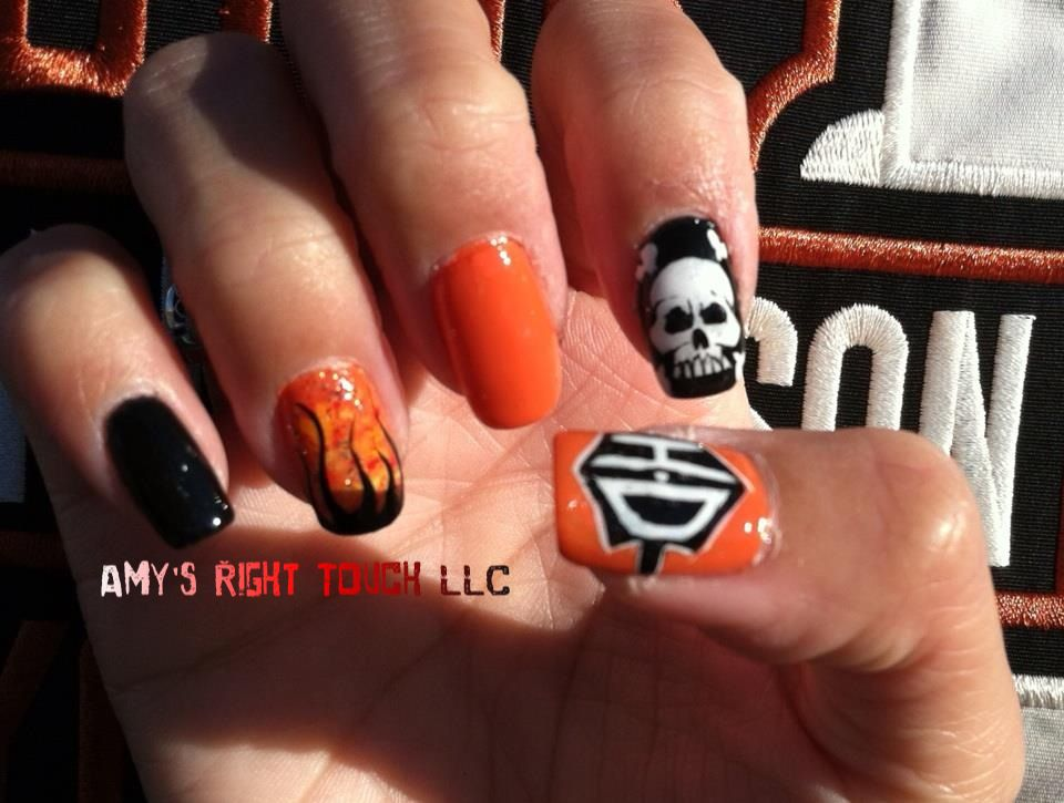 New upgraded Harley Davidson nail art - New Upgraded Harley Davidson Nail Art Nails!!! Pinterest