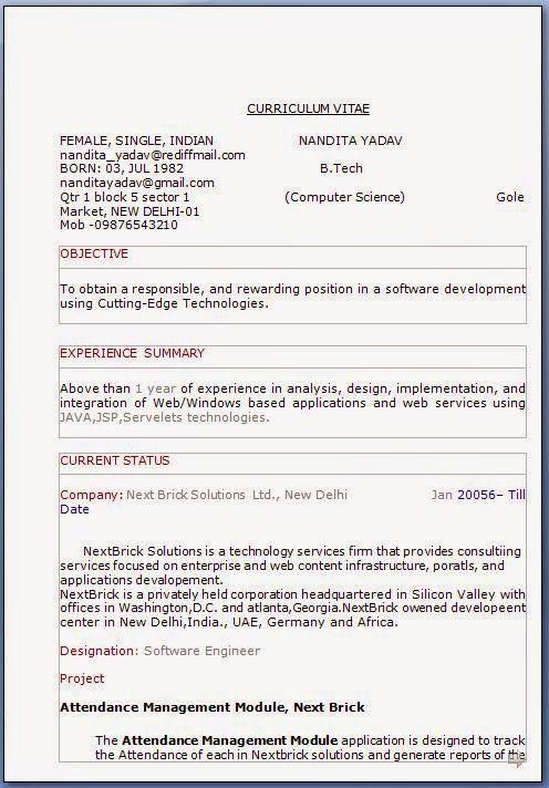 formato curriculum Sample Template Example of ExcellentCV / Resume