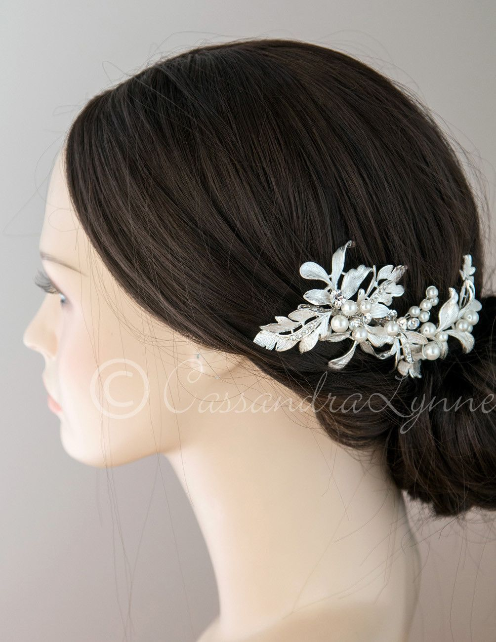 Wedding Hair Clip of Grecian Leaves and Pearls Pinterest Bridal